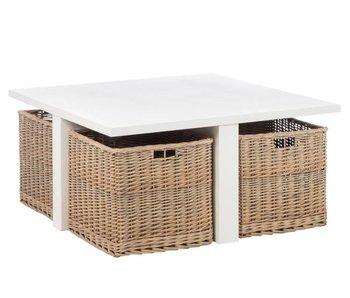 J-Line Table salon blanc en bois L95 x L95 x H45 cm
