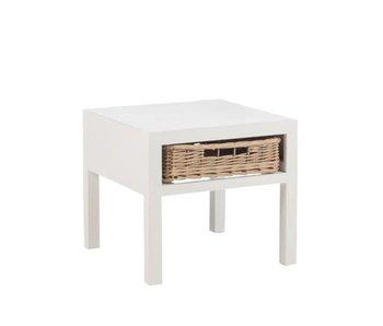 J-Line Table nuit blanc en bois 50 x 50 x H45 cm