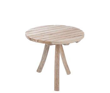 J-Line Table rond 3 pieds en bois 75 x 75 x H65 cm