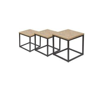 Hamilton Living Table d'appoint parquet Trinity / structure en métal L 50x50x45h