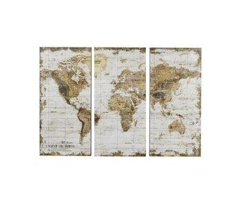 Hamilton Living Carte du monde en 3 parties - bois blanc