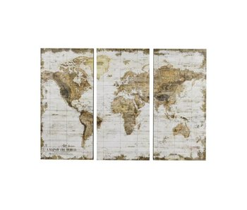 Hamilton Living Wereldkaart in 3 delen - wit hout