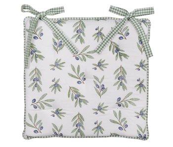 Clayre & Eef Coussin pour chaise avec motif olives  40 x 40 cm