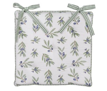 Clayre & Eef Coussin pour chaise motif olives  40 x 40 cm