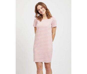 VILA Vitinny new dress - gestreep roze - large
