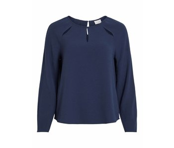 VILA Vinaomi L/S cutout top - blue - 36