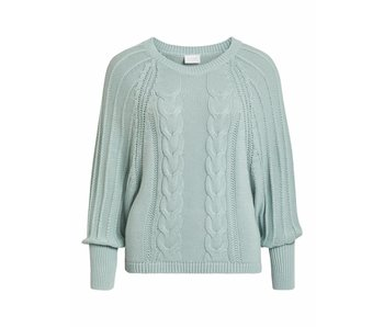 VILA Vijoya knit volume L/S top - blue haze - large