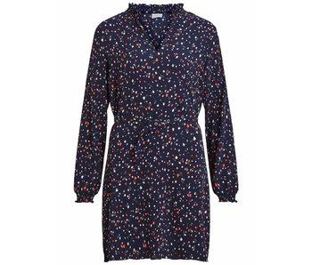 VILA Viatla jurk met bloemenprint | Blauw | 38
