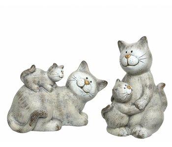 Kat (in zit) met kitten - terracotta grijs