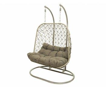Bologna 2-zit grijs hangstoel 95x140x197h