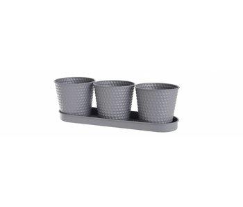 Jardinière en fer gris foncé sur plaque | 11.5x35x10.57cm