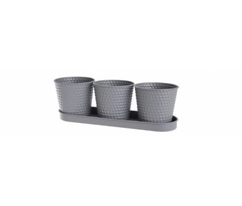 Plantenbakje in grijs/mauve ijzer op bord | 11.5x35x10.5cm
