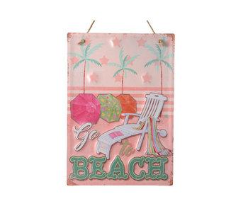 ijzeren bord met tekst - roze 25x40