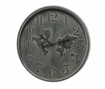 Horloge fer carte du monde   48cm diamètre