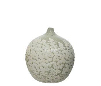 Vaas grijs aardewerk bloem dia31.5x33