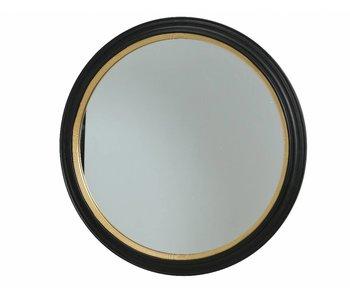 miroir noir / bois dia110x4.5 doré