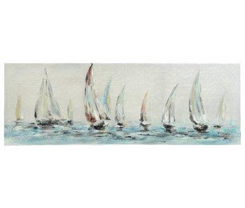 canvas zeezicht met boten 3.5x150x50