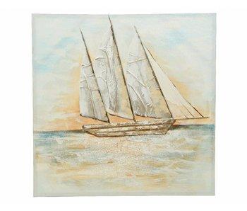 schilderij canvas boat 100x100x3