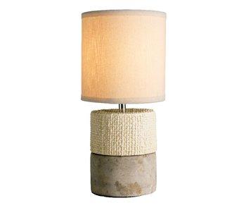 Tafellamp créme met beton voet + kap grijs 15x32.5h