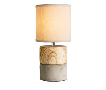Tafellamp hout met beton voet + kap grijs 15x32.5h