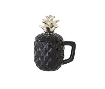 Ananas zwart beker