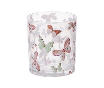 Bougeoir en verre motif papillon 7x8