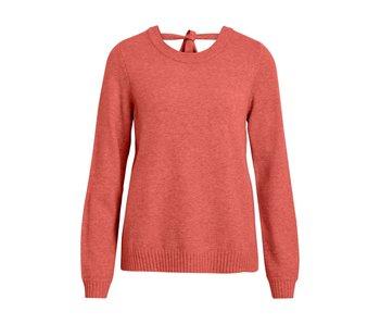 VILA Viril L/S open back knit top - dusty cedar - medium
