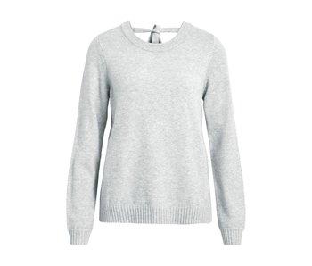 VILA Viril L/S trui met open rug | lichtgrijs | medium