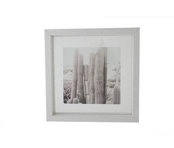 Cadre photo en bois blanc 23.5x23.5cm