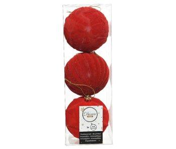 3 kerstballen  8cm/rood