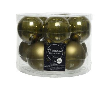 10 kerstbal 6cm glas mosgroen glans - mat