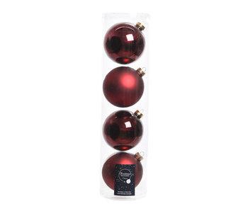 4 kerstballen 10 cm glas glans/mat ossenbloed