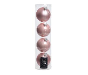 4 Kerstballen 10cm glas poederroze glans/mat