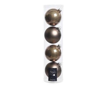 4 kerstballen Kasjmier 10 cm glas glans/mat