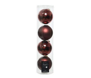 4 kerstballen rood-bruin 10 cm glas glans/mat