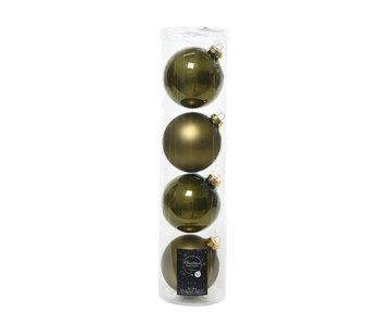 4 kerstballen mosgroen 10 cm glas glans/mat