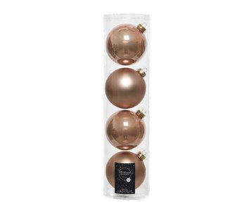 4 kerstballen warm beige 10 cm glas glans/mat