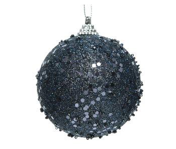 Kerstbal foam glitter nacht blauw 8cm