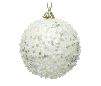 Kerstbal foam glitter wolwit 8cm