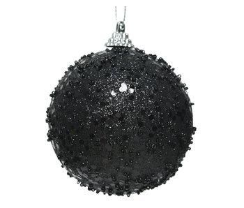 Kerstbal foam glitter zwart 8cm