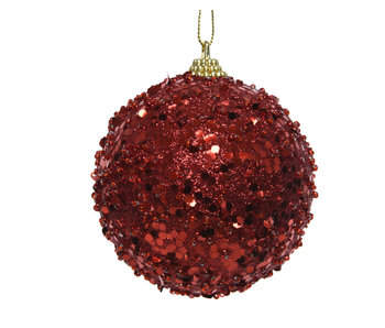 Kerstbal hanger foam glitter rood 8cm