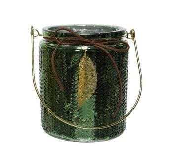 Theelicht groen glas met blad dia12x14 cm