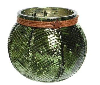 Theelicht glas groen streep 8x9.5cm