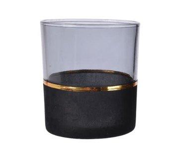 Theelicht glas flock A - 9x10cm