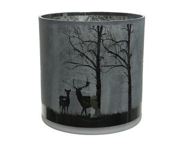 Windlicht hert boom 24.5x24.5cm glas/zwart