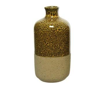 Vaas aardewerk | geel/zwart | 6.5cm diameter x 13cm hoog