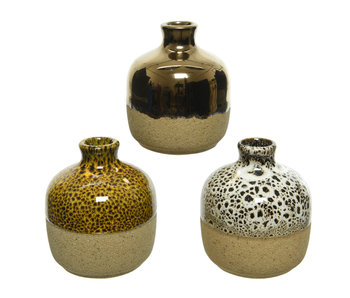 Vaas aardewerk | 6.5 diameter 7.5 hoog |  geel/zwart