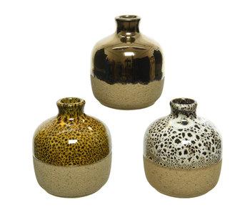 Vase en poterie dia6.5x7.5 jaune / noir