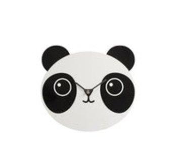J-Line Uurwerk Panda Hout Wit/Zwart | 30cm diameter