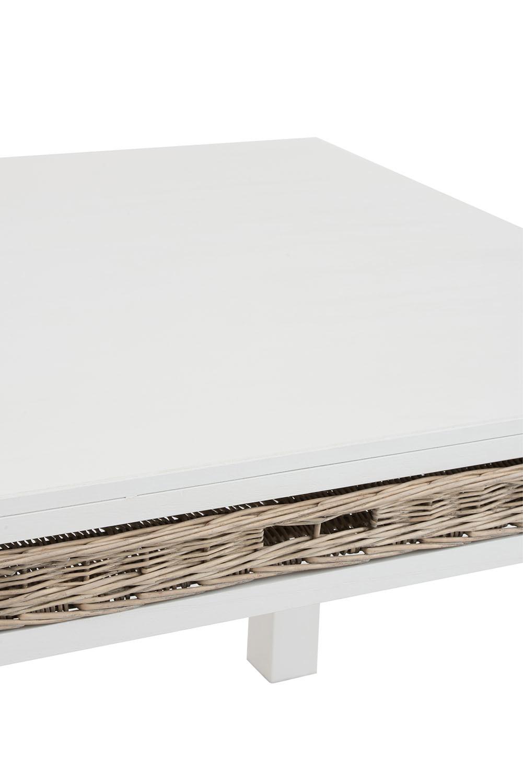 Vierkante Salontafel Wit Met Manden.Tafel Manden Vierkant Hout Wit